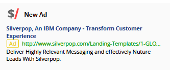 Silverpop Google Adwords Ad - Marketing Automation Tracking Report Kompyte